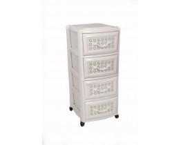 Πλαστική Συρταριέρα Millenium με 4 Συρτάρια OEM 0114 39x38x87εκ - Λευκή