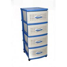 Πλαστική Συρταριέρα Σίτι με 4 Συρτάρια OEM 0113 47x38x96 - Μπλε