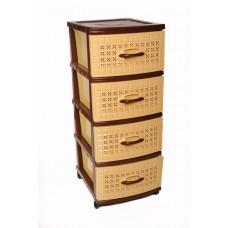 Πλαστική Συρταριέρα Σίτι με 4 Συρτάρια OEM 0113 47x38x96 - Καφέ