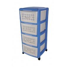 Πλαστική Συρταριέρα Millenium με 4 Συρτάρια OEM 0114 39x38x87εκ - Μπλέ