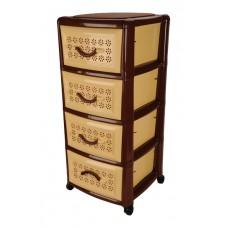 Πλαστική Συρταριέρα Millenium με 4 Συρτάρια OEM 0114 39x38x87εκ - Καφέ