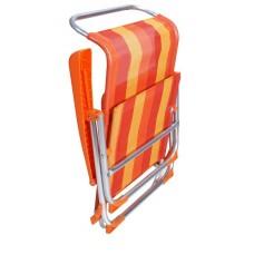 Καρεκλάκι Παραλίας Αλουμινίου Με Ψηλή Πλάτη Πορτοκαλί Ρίγα 59x51x73υψ OEM 03.CH-101-O
