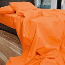 Σετ Σεντόνια Μονά Βαμβακερά Μονόχρωμα Ανοιχτό Πορτοκαλί 160x220εκ OEM