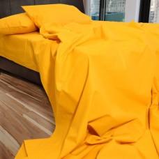 Σετ Σεντόνια Διπλά Βαμβακερά Μονόχρωμα Κίτρινα 200x220εκ OEM