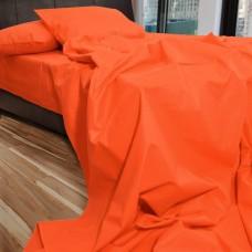 Σετ Σεντόνια Διπλά Βαμβακερά Μονόχρωμα Πορτοκαλί 200x220εκ OEM