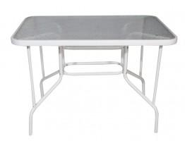 Τραπέζι Μεταλλικό Άσπρο Με Τζάμι 65x100εκ OEM TAB-10065W
