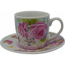 Σετ 6 Φλυτζάνια Τσαγιού Ροζ Λουλούδι 756117 OEM