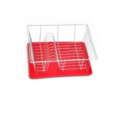Πιατοθήκη - Στεγνωτήρι Πιάτων Με Δίσκο Λευκό-Κόκκινο 36x33x12υψ Piccolo Metaltex 320240