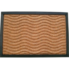 Πατάκι Εξώπορτας Καουτσούκ - Μοκέτα Καφέ Ανάγλυφα Κύματα 761388 45x75εκ