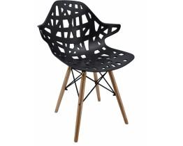 Καρέκλα Με Ξύλινα Πόδια Και Πλαστικό ΡΡ Μαύρο Κάθισμα OEM 762101 52x59x80υψ