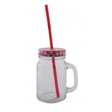 Ποτήρι - Βάζο Με Τρύπα Για Καλαμάκι Και Καπάκι OEM 751600 - Κοκκινο