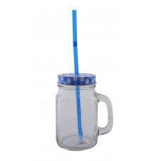 Ποτήρι - Βάζο Με Τρύπα Για Καλαμάκι Και Καπάκι OEM 751617 - Μπλε