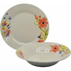 Σετ Πιάτα Πορσελάνης 18τεμ Στρογγυλό, Πολύχρωμα Λουλούδια, R8031-18
