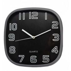 Ρολόι Τοίχου Πλαστικό, Τετράγωνο, Γκρι-Μαύρο, 30εκ, 775217