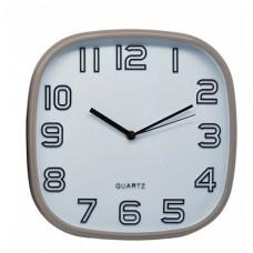 Ρολόι Τοίχου Πλαστικό, Τετράγωνο, Σωμόν-Άσπρο, 30εκ, 775217