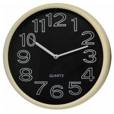 Ρολόι Τοίχου Πλαστικό, Στρογγυλό, Μπεζ-Μαύρο, 30εκ, 775224