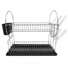 Πιατοθήκη - Στεγνωτήρι Πιάτων Διώροφο Μεταλλικό Μαύρο 776351 50x24x34υψ Αnkor