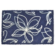 Πατάκι Εξώπορτας Λάστιχο - Ψάθα Μπλε Λουλούδι 783250 60x40εκ
