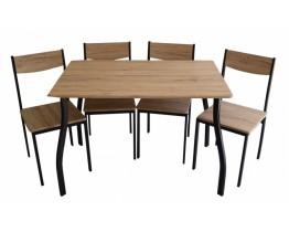 Σετ Τραπέζι Με 4 Καρέκλες Χρώμα Oξιάς Μαύρο Σκελετό 784912 110x70εκ