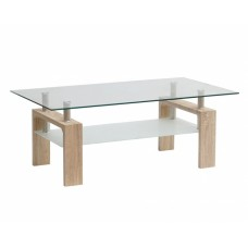 Τραπέζι Σαλονιού Γυάλινη Επιφάνεια Ξύλινα Πόδια 787296 110x60x43υψ
