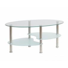 Τραπέζι Σαλονιού Οβάλ Γυάλινη Επιφάνεια Μεταλλικά Πόδια 787302 90x55x40υψ