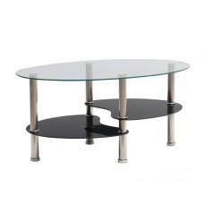 Τραπέζι Σαλονιού Οβάλ Γυάλινη Επιφάνεια Μεταλλικά Πόδια 787319 90x55x40υψ
