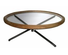 Τραπέζι Στρογγυλό Με Τζάμι Ξύλο - Μέταλλο 787265 100x100x40υψ