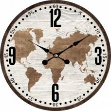 Ρολόι Τοίχου Ξύλινο Earth 787548 Φ34εκ Ankor