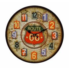 Ρολόι Τοίχου Ξύλινο Route 787562 Φ34εκ Ankor