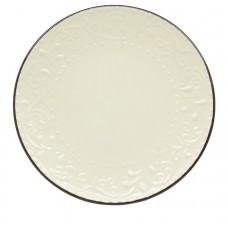 Πιάτο Στρογγυλό Ρηχό Κεραμικό Ανάγλυφο Μπεζ - Σκούρο Γκρι 78354-108 Φ27εκ - Ankor