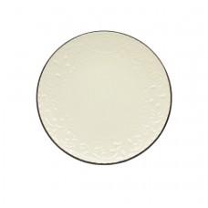 Πιάτο Στρογγυλό Φρούτου Κεραμικό Ανάγλυφο Μπεζ - Σκούρο Γκρι 78354-085 Φ21,5εκ - Ankor