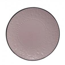 Πιάτο Στρογγυλό Φρούτου Κεραμικό Ανάγλυφο Απαλό Ροζ - Σκούρο Γκρι 78357-085 Φ21,5εκ - Ankor