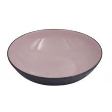 Πιάτο Στρογγυλό Βαθύ Κεραμικό Ανάγλυφο Απαλό Ροζ - Σκούρο Γκρι 78357-078 Φ19,5εκ - Ankor