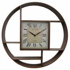 Ρολόι Τοίχου Πλαστικό Αντικέ Καφέ 790555 Φ35εκ Ankor