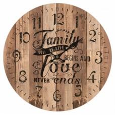Ρολόι Τοίχου Ξύλινο Στρογγυλό Καφέ 792825 Φ34εκ Ankor