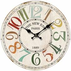 Ρολόι Τοίχου Ξύλινο Στρογγυλό Πολύχρωμο 792832 Φ34εκ Ankor
