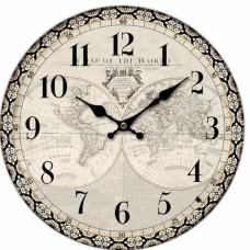 Ρολόι Τοίχου Ξύλινο Στρογγυλό Άσπρο - Μαύρο 792856 Φ34εκ Ankor