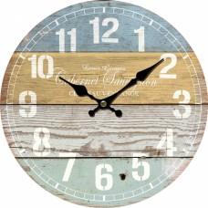 Ρολόι Τοίχου Ξύλινο Στρογγυλό Ριγέ Πολύχρωμο 792870 Φ34εκ Ankor