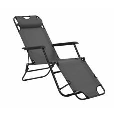 Καρέκλα - Ξαπλώστρα Μεταλλική Γκρι Πανί Και Μαξιλάρι 789238 163x60x80υψ Ankor