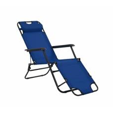 Καρέκλα - Ξαπλώστρα Μεταλλική Μπλε Πανί Και Μαξιλάρι 789245 163x60x80υψ Ankor