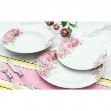 Σετ Πιάτα Πορσελάνης 18τεμ Στρογγυλό Ροζ Λουλούδια R8048-18 Αnkor
