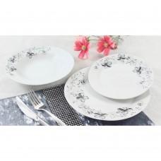 Σετ Πιάτα 18τεμ Στρογγυλό Πορσελάνη Μαύρο Λουλούδι R8051-18 Ankor