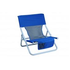 Καρεκλάκι Παραλίας, Πτυσσόμενο, Μεταλλικό, Με Δίχτυ, Άσπρο Σκελετό, Μπλε Πανί 03.CH-3015