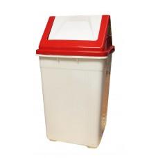 Καδος Απορριματων Πλαστικός Μα Καπάκι OEM 0020 27x27x50υψ - Κόκκινο Καπάκι