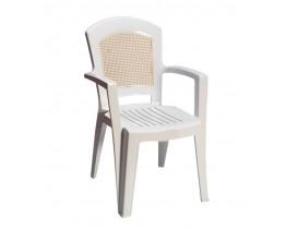 Πλαστική Καρέκλα Αφροδίτη με Πλάτη σε στυλ Ψάθας Λευκή OEM 0137 90x59x51 - 48x46 Καθίσμα