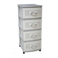 Συρταριέρα Πλαστική 4 Συρτάρια Λευκό - Γκρι 0113 47x38x96υψ