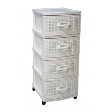 Συρταριέρα Πλαστική 4 Συρτάρια Λευκό 0113 47x38x96υψ
