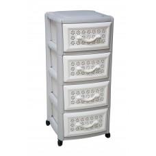 Συρταριέρα Πλαστική 4 Συρτάρια Millenium Λευκό - Γκρι 0114 39x38x87υψ