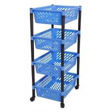 Τρολευ Μανάβης 4 Θεσεων Πλαστικό OEM 0343 40x30x81υψ - Μπλε