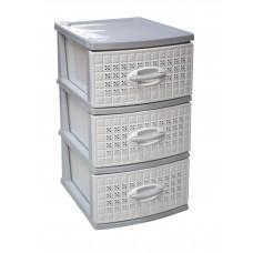 Συρταριέρα Πλαστική 3 Συρτάρια Λευκό - Γκρι Millenium 0112 39,5x38x66υψ